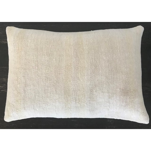 Contemporary Vintage Contemporary Minimalist Hand Woven Hemp Kilim Pillow Cushion With Linen Back and Feather Down Insert,16x24 For Sale - Image 3 of 3