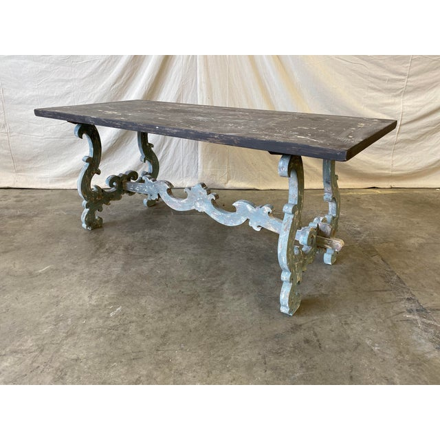 Italian Tuscan Painted Trestle Dining Table For Sale - Image 3 of 13