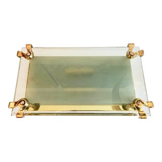 Oversize Italian Glass Brass Flush Mount For Sale