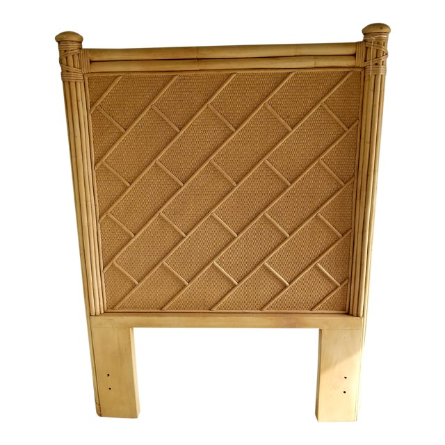 Rattan Bamboo Chippendale Twin Headboard For Sale