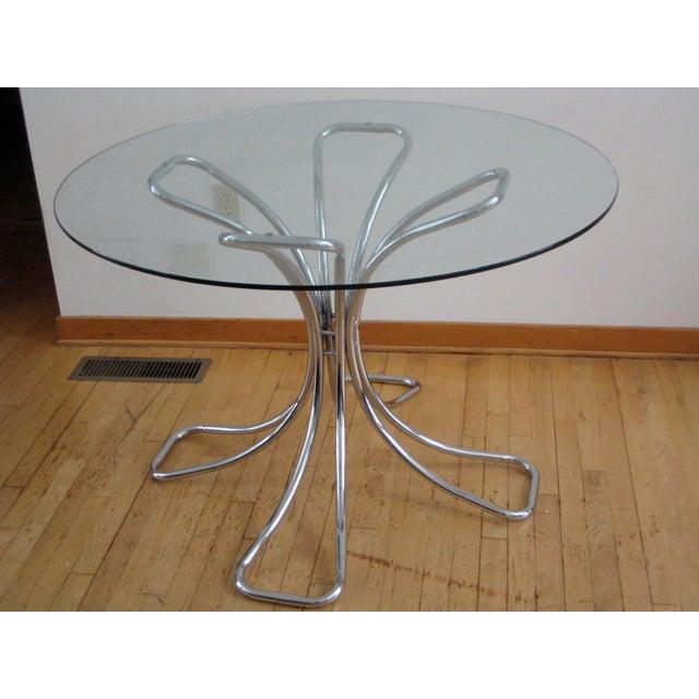 Gastone Rinaldi 20th Century Rinaldi Chrome and Glass Dining Table For Sale - Image 4 of 4