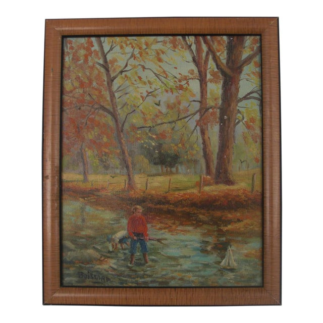 Boys Playing in the Woods Framed Oil on Canvas For Sale