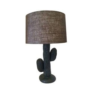 Vintage Black Ceramic Cactus Lamp