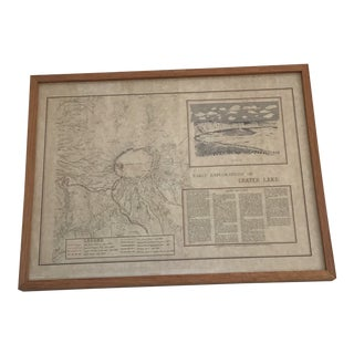 Vintage 1977 Early Explorations Framed Historical Map of Crater Lake, Oregon For Sale