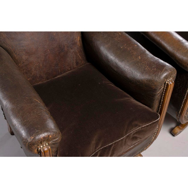 All Original French Art Deco Leather Club Chairs With Velvet Cushions-A Pair For Sale - Image 9 of 13