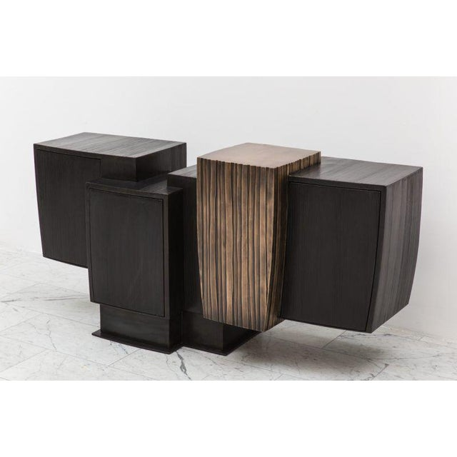 2010s Gary Magakis, Blackened Steel and Layered Bronze Compact Console, USA, 2017 For Sale - Image 5 of 9