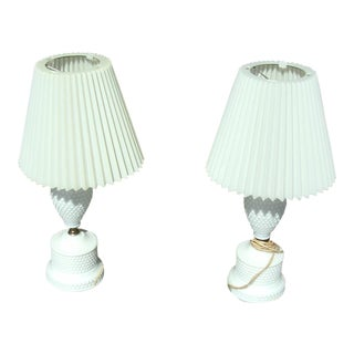 Vintage Mid Century White Hobnail Milk Glass Table Lamps - A Pair For Sale