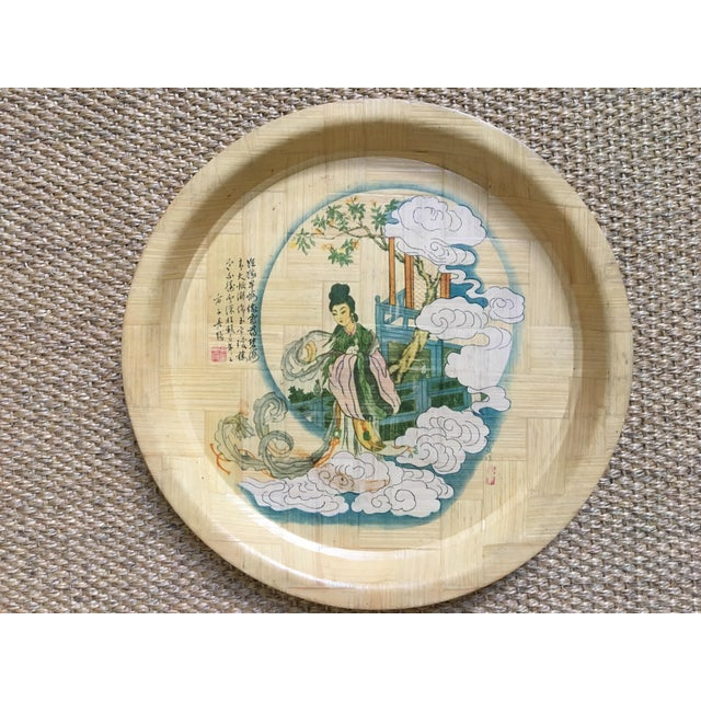 1960s Vintage Hand Painted Bamboo Drink Tray For Sale - Image 10 of 10