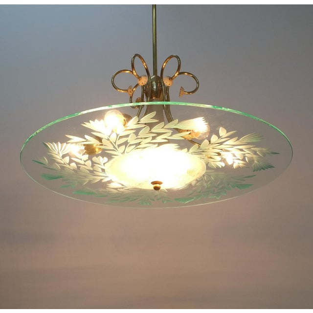 Large Chandelier Luigi Brusotti Glass Brass, Italy, Circa 1940 For Sale - Image 10 of 13