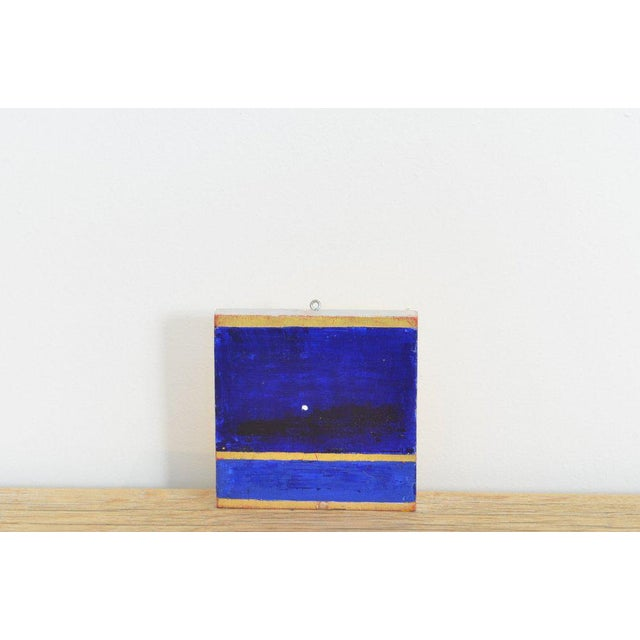 Contemporary Arne L. Hansen Small Blue and Gold Painting For Sale - Image 3 of 3