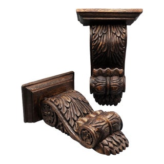 Antique Carved Solid Walnut Wall Brackets, Pair For Sale