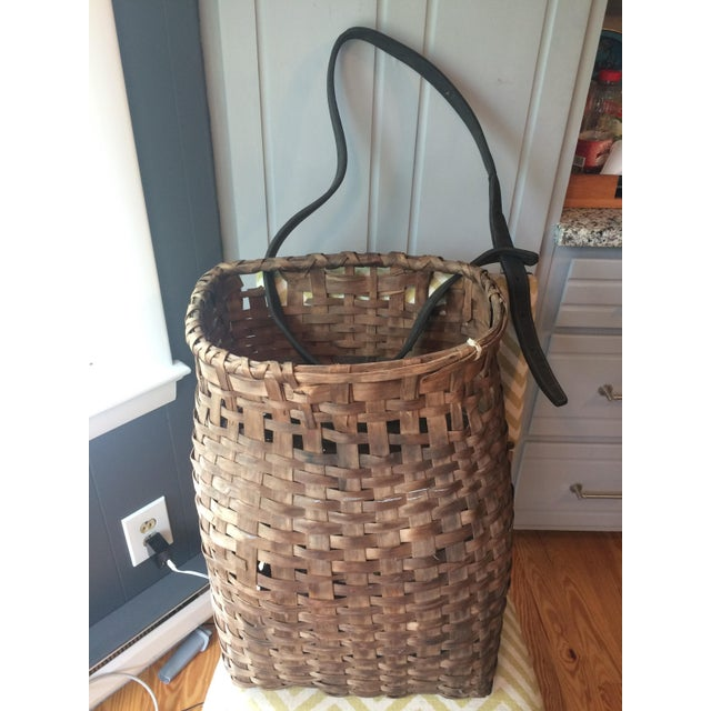 Brown 1950s Minimalism Leather and Wicker Picker's Basket For Sale - Image 8 of 8