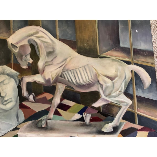 Mid-Century Modern 1940s Vintage Horse Bust Still Life Oil Painting For Sale - Image 3 of 11