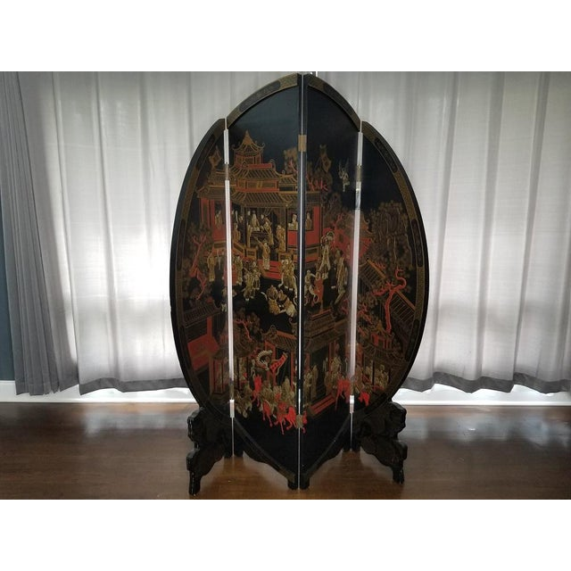 Late 20th Century Large Vintage Black and Gold Round Asian Screen or Room Divider For Sale - Image 5 of 8