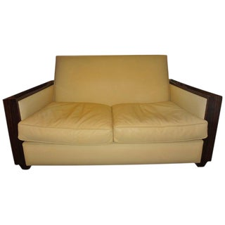 1930 French Art Deco Sofa Upholstered in Leather For Sale