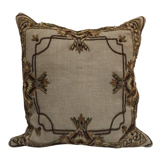 Accent Pillow Embroidered With Moorish Metallic Threads Design