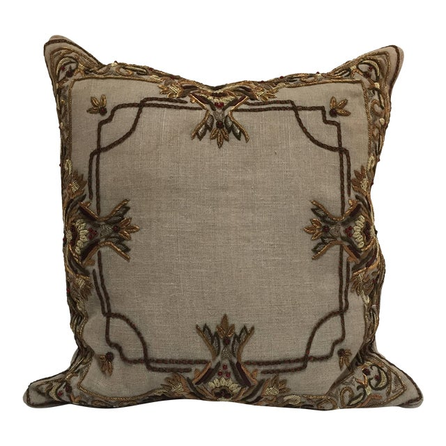 Accent Pillow Embroidered With Moorish Metallic Threads Design For Sale
