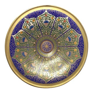 "Bohemian 12"" Persian Style Enameled Glass Bowl"