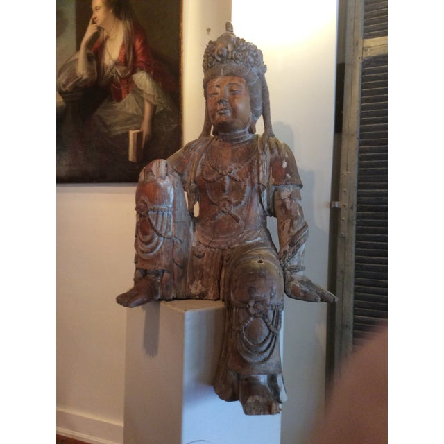 Beautiful large carved wood Bodhisattva figure. This very powerful sculpture is hundreds of years old. It came from the...