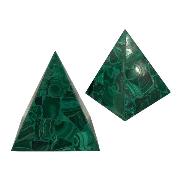 Malachite Pyramidal Sculptures — a Pair For Sale