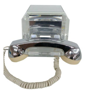Mid Century Modern Lucite and Mirror Chrome Telephone by TeleConcepts Inc For Sale