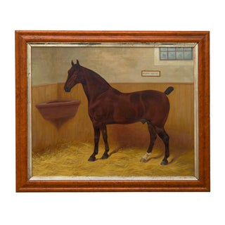 """""""Hedon Squire"""" Antique British Equestrian Horse Painting by Frank Babbage C. 1901 Preview"""