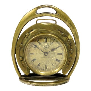 1910s Antique Bronze Horseshoe & Stirrup Equestrian Clock For Sale