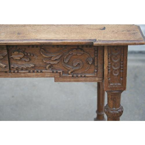 18th Century French Oak Table With Carvings and Single Drawer For Sale In Nashville - Image 6 of 8