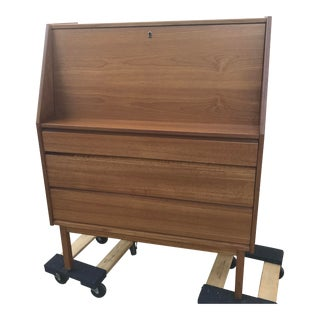 Mid-Century Danish Modern Teak Secretary Desk For Sale