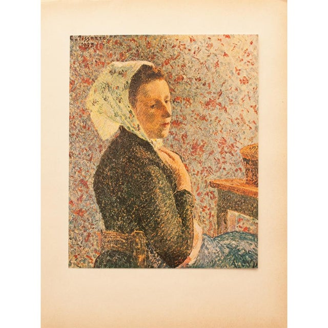 "Red 1930s Camille Pissarro, Rare Original ""Woman With Green Scarf"" Lithograph For Sale - Image 8 of 8"
