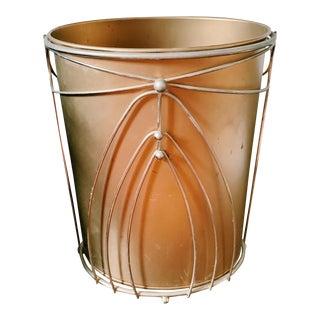 Vintage Hollywood Regency Gold Waste Basket For Sale