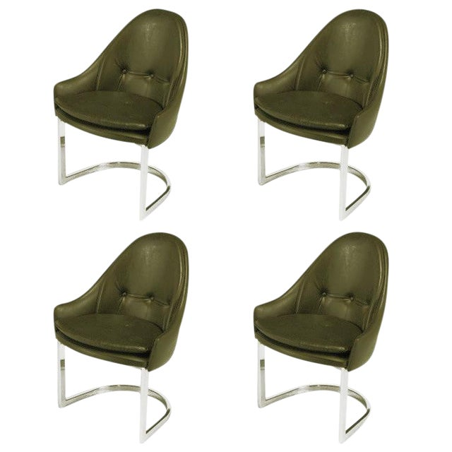 Four Cantilevered Chrome and Chocolate Brown Spoonback Dining Chairs For Sale