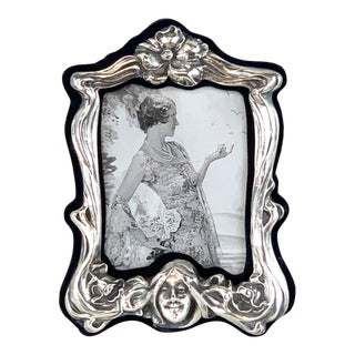 Art Nouveau Sterling Lady Motif Figural Frame For Sale