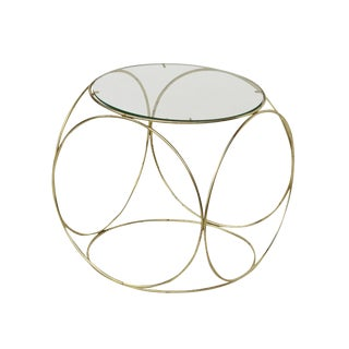 Brass and Glass Side Table in the Style of Thonet For Sale