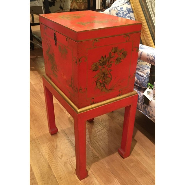 Red Chinoiserie Chest Box on Stand Table - Italy - Image 3 of 4