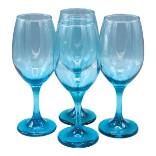 Mid-Century Handblown Crystal Wine Glasses in Blue Shade - Set of 4 For Sale
