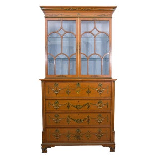 English Adams Style Painted Satinwood Secretary For Sale