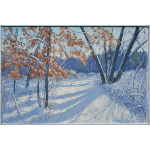"""""""Snowy Path by the Beech Tree"""" Contemporary Acrylic Painting by Stephen Remick, Framed For Sale - Image 10 of 11"""