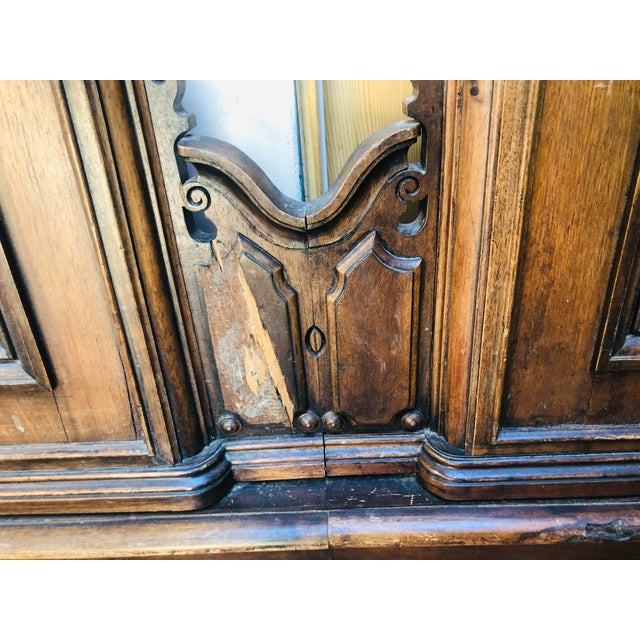 19th Century Jacobean Carved Head Board for King Size Bed With Night Stands - 3 Pieces For Sale - Image 11 of 12
