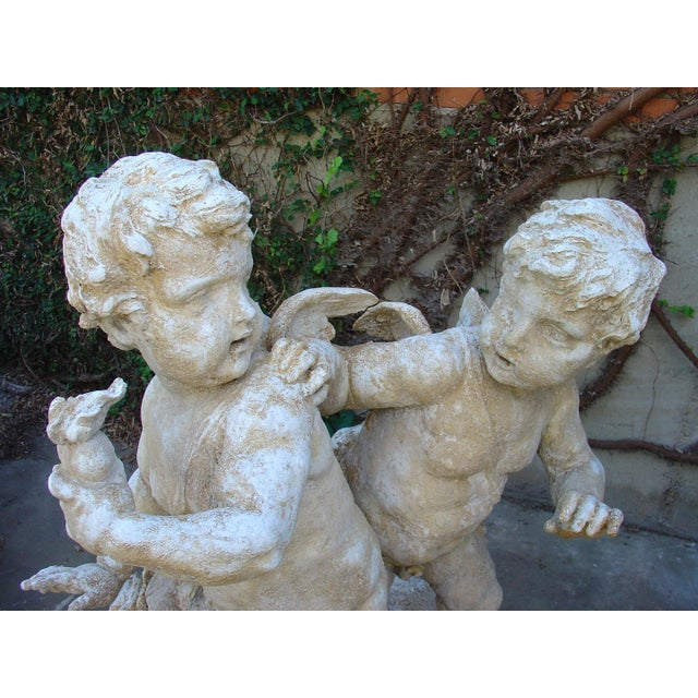 Early 20th Century Cast Stone Cupids Statue From France For Sale - Image 5 of 10