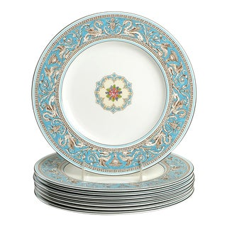 Wedgwood Florentine Turquoise Dinner Plate - Set of 8 For Sale