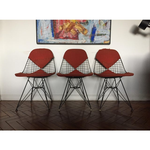 Eames DKR Black Wire Chairs - Set of 3 For Sale - Image 11 of 11