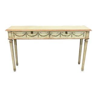 Antique French Louis XVI Painted Wood Console Table. For Sale