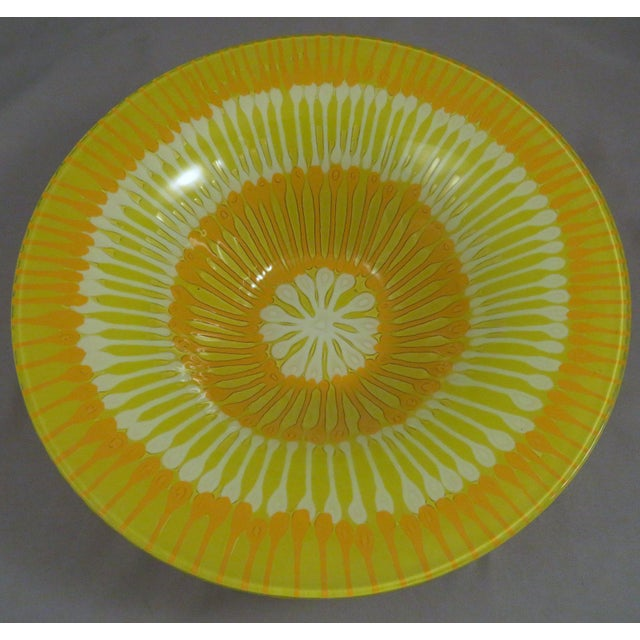 Higgins Glass 1970s Mid-Century Modern Higgins Fused Yellow Glass Bowl For Sale - Image 4 of 4