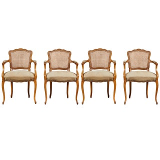 19th Century Louis XV Style Caned Armchairs - Set of 4 For Sale