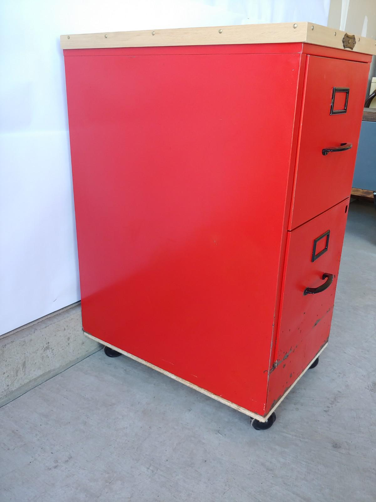 Charmant Vintage Super Roller Metal 2 Drawer Rolling Red File Cabinet   Image 5 Of 13