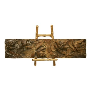 Bronze Abstract on Brass Faux Bamboo Easel For Sale