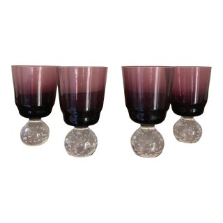 Mid-Century Modern Carl Erickson Amethyst Goblets - Set of 4 For Sale