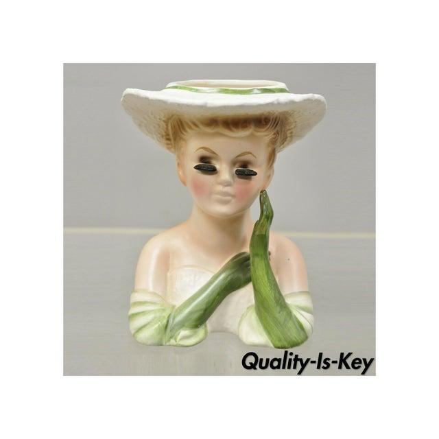 Vintage Lady Head Vase Japan 4228 Green Dress and Gloves White Hat Napco For Sale - Image 12 of 12