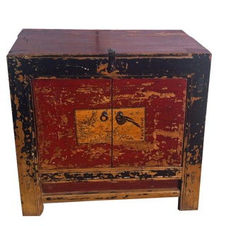 Antique Painted Mongolian Cabinet For Sale